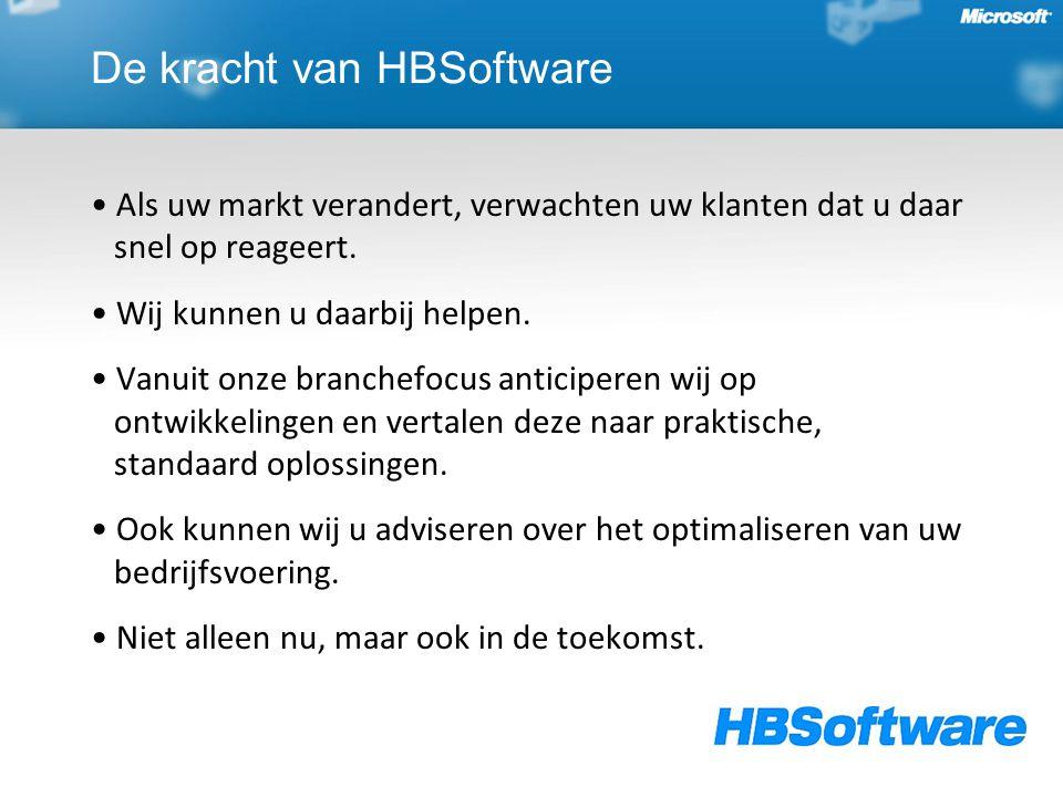 De kracht van HBSoftware Als uw markt verandert, verwachten uw klanten dat u daar snel op reageert. Wij kunnen u daarbij helpen. Vanuit onze branchefo