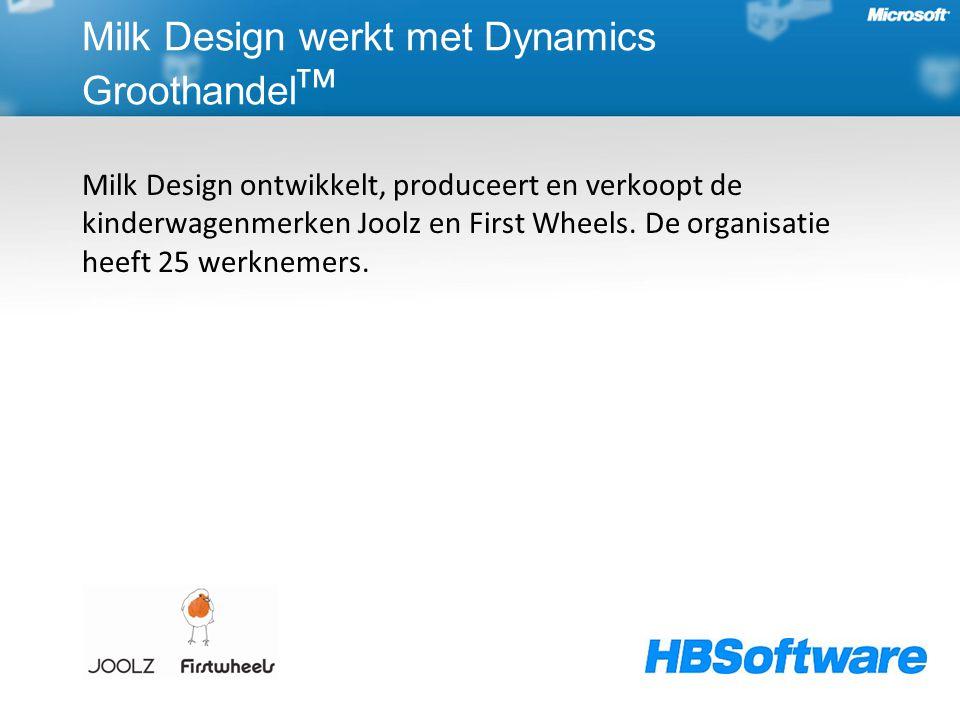 Milk Design werkt met Dynamics Groothandel ᵀᴹ Milk Design ontwikkelt, produceert en verkoopt de kinderwagenmerken Joolz en First Wheels. De organisati