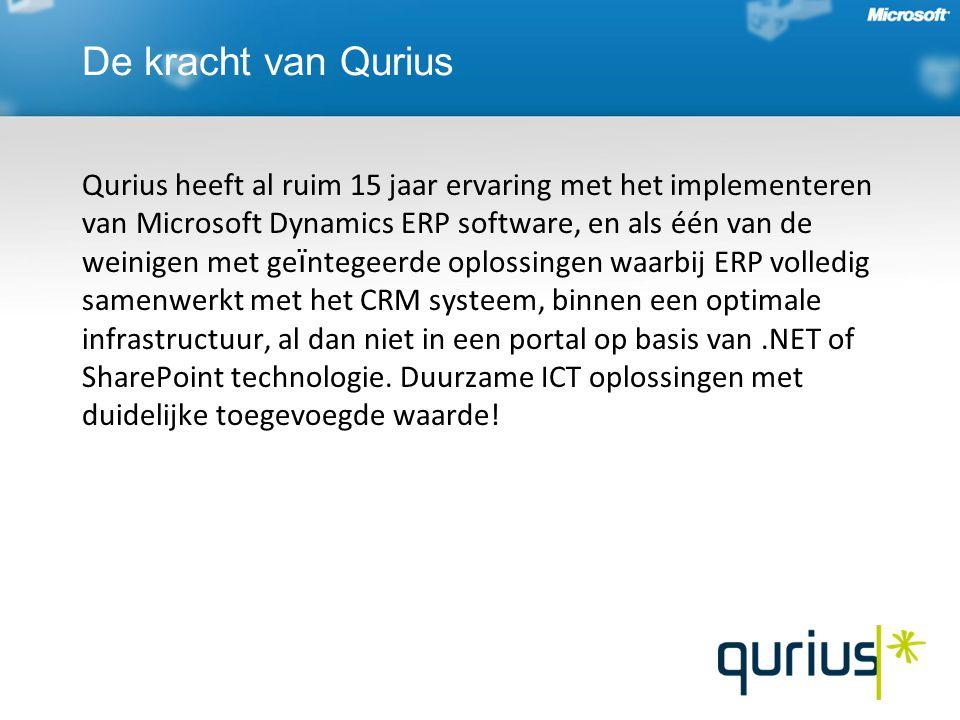 De kracht van Qurius Qurius heeft al ruim 15 jaar ervaring met het implementeren van Microsoft Dynamics ERP software, en als één van de weinigen met g