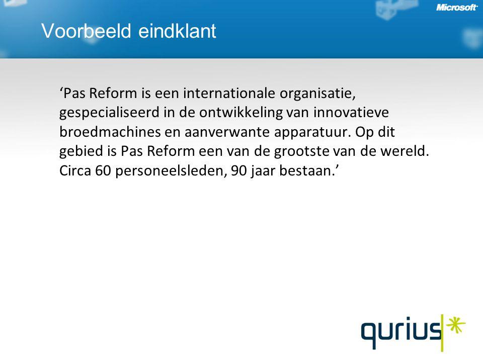 Voorbeeld eindklant 'Pas Reform is een internationale organisatie, gespecialiseerd in de ontwikkeling van innovatieve broedmachines en aanverwante app