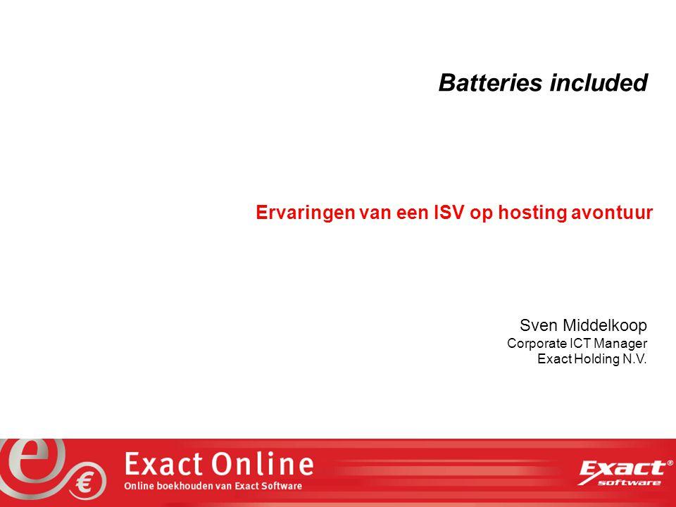 the vision at work Exact Software gaat Online Exact maakt al 20 jaar administratieve software Marktleider in Nederland met 70.000 klanten (DOS, Windows, WWW) Exact Globe 2003 en e-Synergy worden wereldwijd vanuit Exact vestigingen in meer dan 40 landen verkocht en ondersteund Sinds 2 november is Exact Online in Nederland beschikbaar – nu al 574 abonnees In de komende maanden volgt lancering in België, Duitsland en Spanje