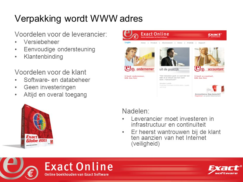 the vision at work Hosting partners gezocht.Web based applicaties gaan 'boxed products' vervangen.