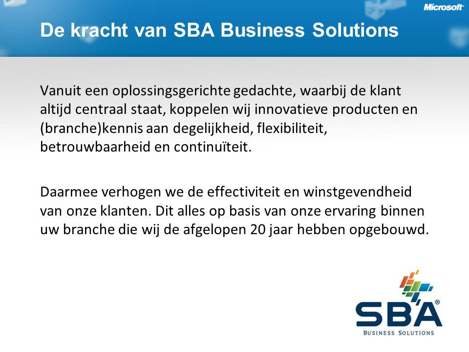 De kracht van SBA Business Solutions Vanuit een oplossingsgerichte gedachte, waarbij de klant altijd centraal staat, koppelen wij innovatieve producte