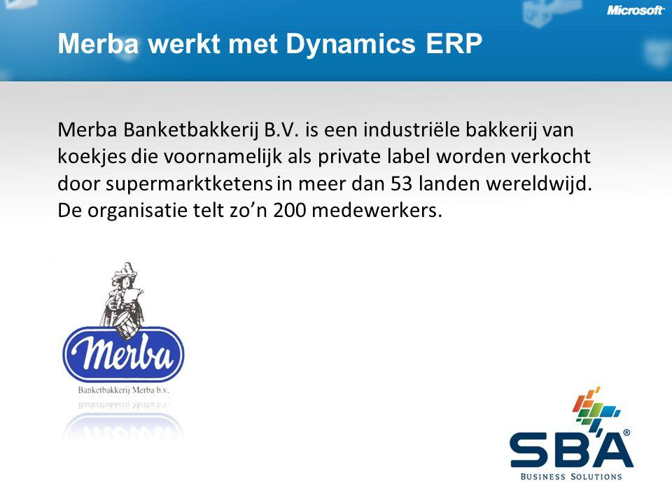 Merba werkt met Dynamics ERP Merba Banketbakkerij B.V. is een industriële bakkerij van koekjes die voornamelijk als private label worden verkocht door