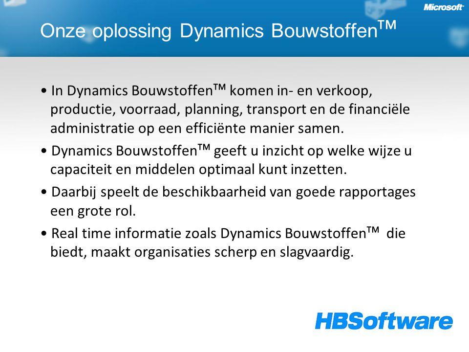 Onze oplossing Dynamics Bouwstoffen ᵀᴹ In Dynamics Bouwstoffenᵀᴹ komen in- en verkoop, productie, voorraad, planning, transport en de financiële administratie op een efficiënte manier samen.