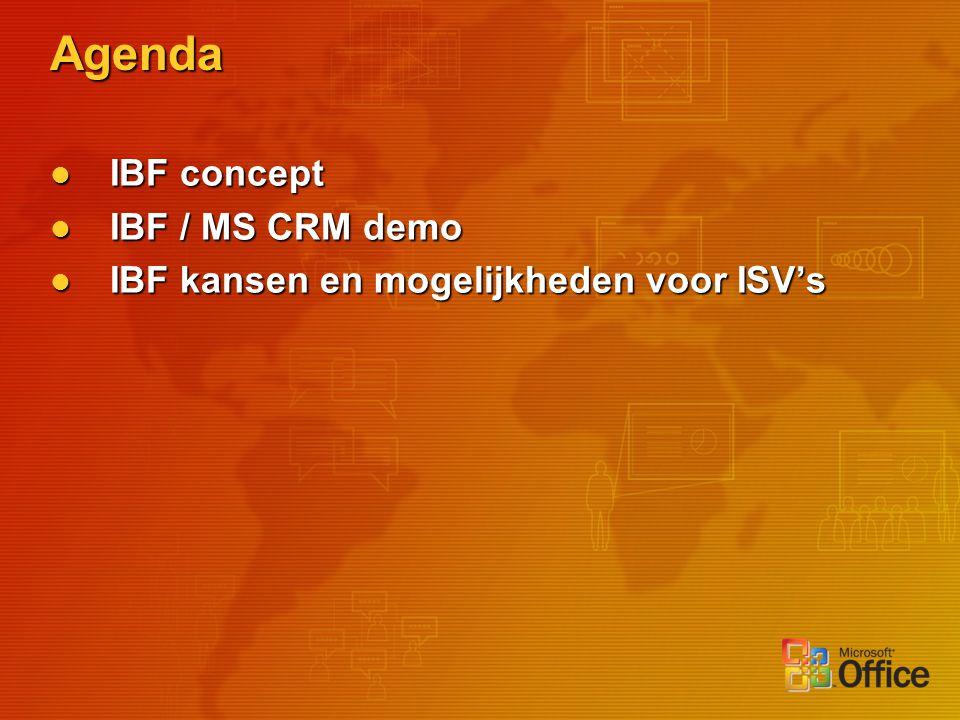 Agenda IBF concept IBF concept IBF / MS CRM demo IBF / MS CRM demo IBF kansen en mogelijkheden voor ISV's IBF kansen en mogelijkheden voor ISV's