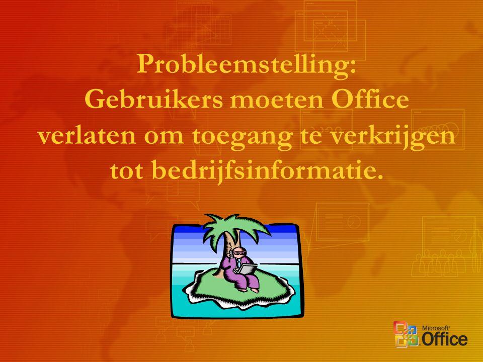 Probleemstelling: Gebruikers moeten Office verlaten om toegang te verkrijgen tot bedrijfsinformatie.