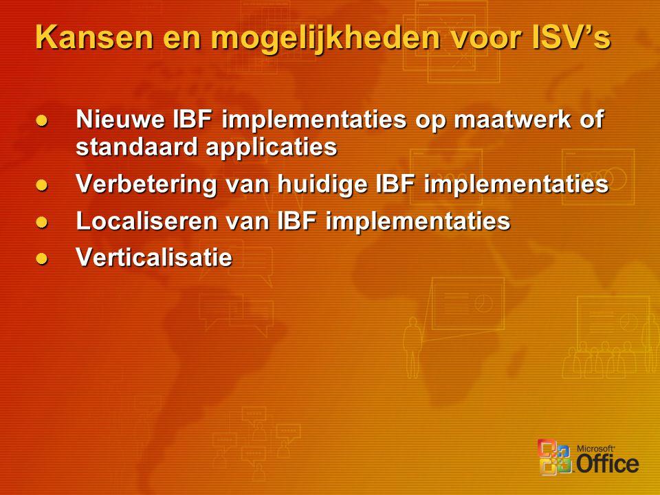 Kansen en mogelijkheden voor ISV's Nieuwe IBF implementaties op maatwerk of standaard applicaties Nieuwe IBF implementaties op maatwerk of standaard a