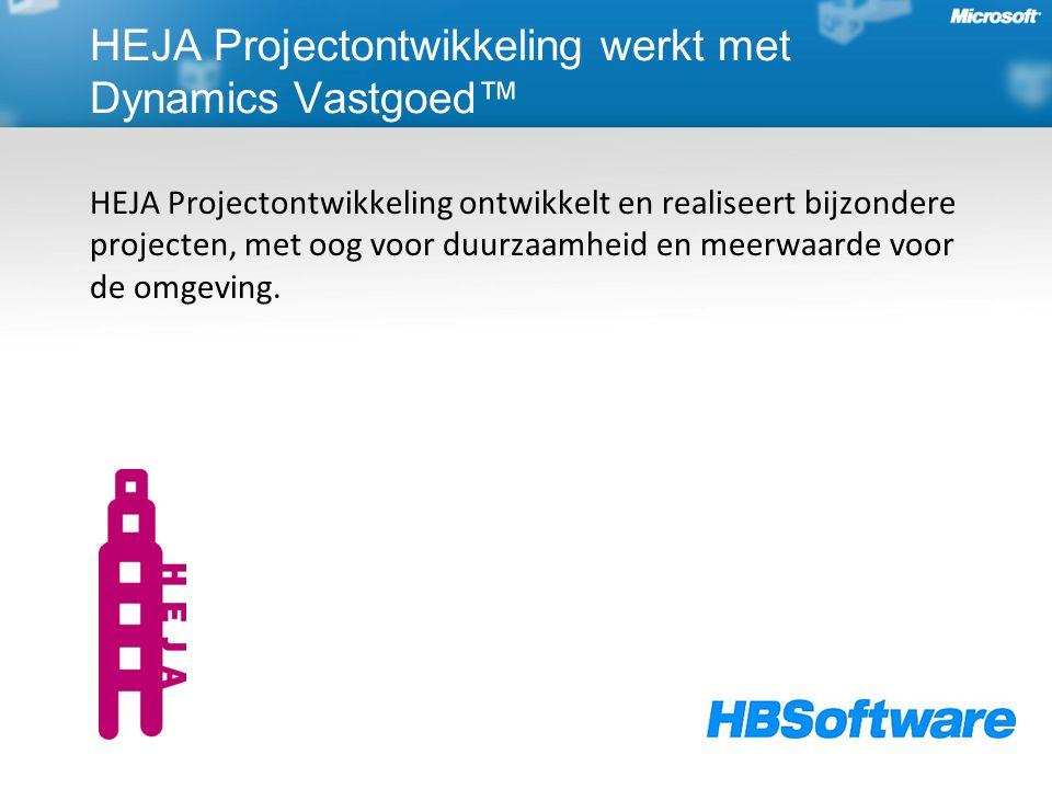 HEJA Projectontwikkeling werkt met Dynamics Vastgoed™ HEJA Projectontwikkeling ontwikkelt en realiseert bijzondere projecten, met oog voor duurzaamheid en meerwaarde voor de omgeving.