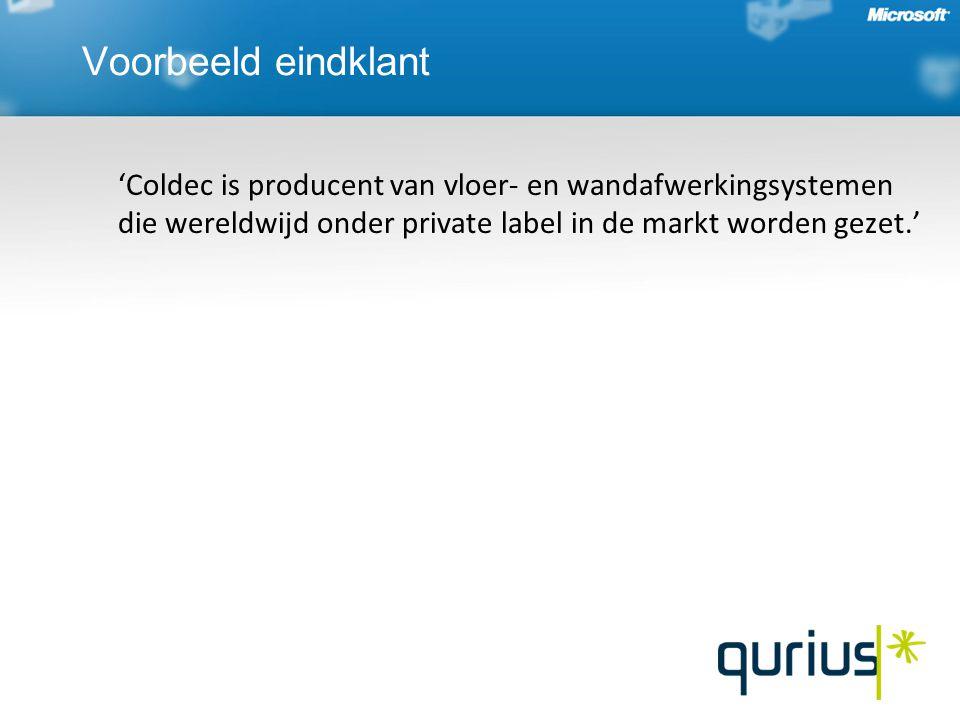 Voorbeeld eindklant 'Coldec is producent van vloer- en wandafwerkingsystemen die wereldwijd onder private label in de markt worden gezet.'