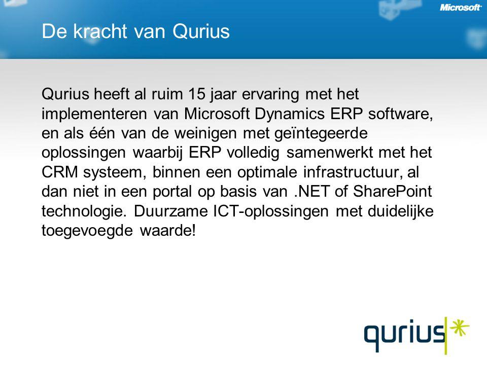 De kracht van Qurius Qurius heeft al ruim 15 jaar ervaring met het implementeren van Microsoft Dynamics ERP software, en als één van de weinigen met geïntegeerde oplossingen waarbij ERP volledig samenwerkt met het CRM systeem, binnen een optimale infrastructuur, al dan niet in een portal op basis van.NET of SharePoint technologie.