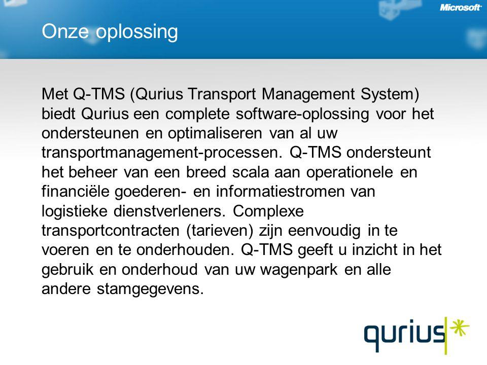 Onze oplossing Met Q-TMS (Qurius Transport Management System) biedt Qurius een complete software-oplossing voor het ondersteunen en optimaliseren van al uw transportmanagement-processen.