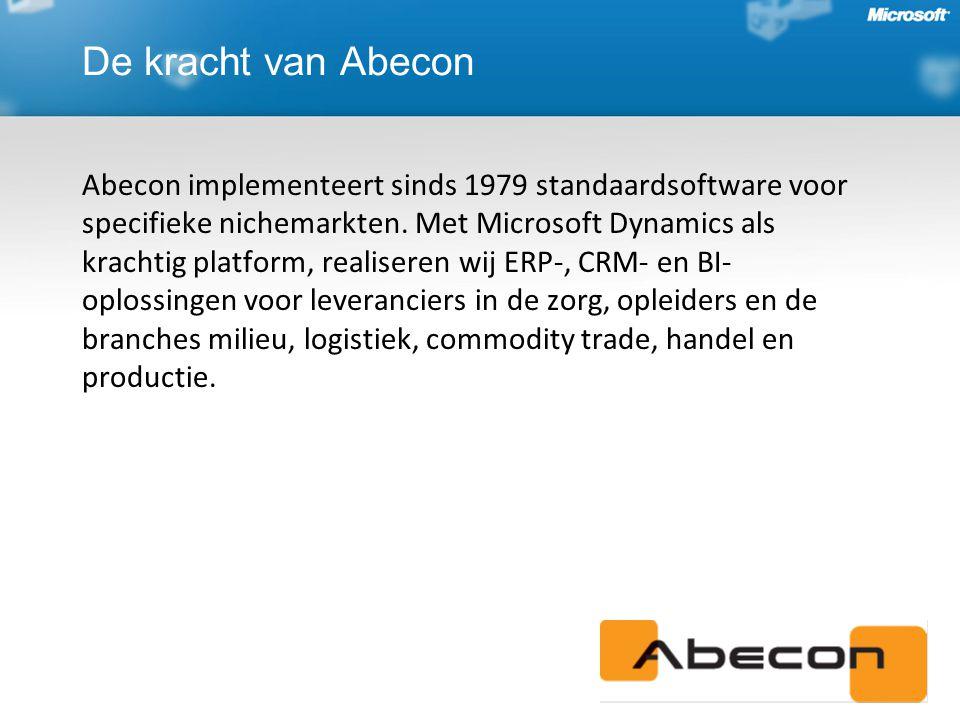 De kracht van Abecon Abecon implementeert sinds 1979 standaardsoftware voor specifieke nichemarkten.