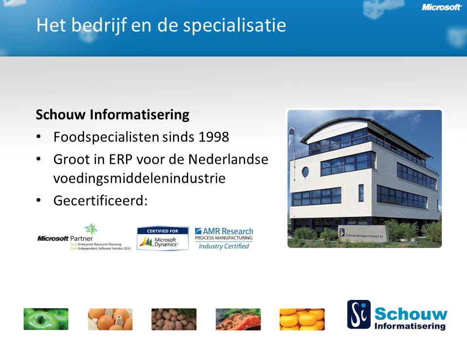 Schouw Informatisering Foodspecialisten sinds 1998 Groot in ERP voor de Nederlandse voedingsmiddelenindustrie Gecertificeerd: Het bedrijf en de specialisatie