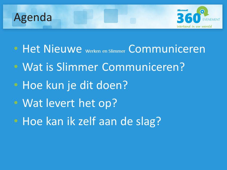 Agenda Het Nieuwe Werken en Slimmer Communiceren Wat is Slimmer Communiceren.