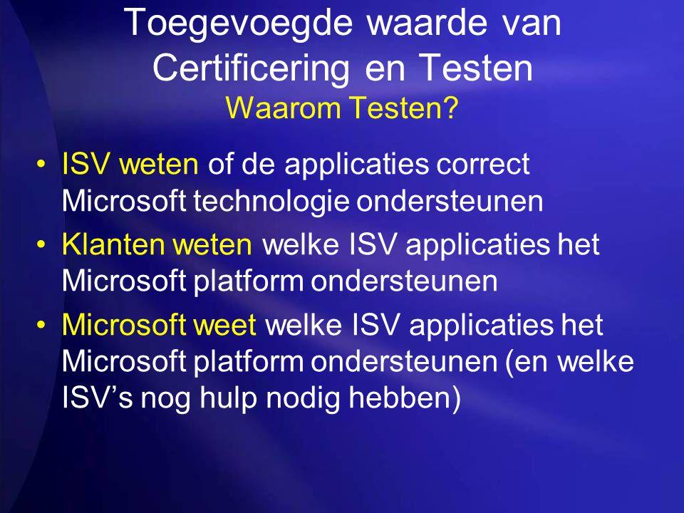 Toegevoegde waarde van Certificering en Testen Waarom Testen? ISV weten of de applicaties correct Microsoft technologie ondersteunen Klanten weten wel