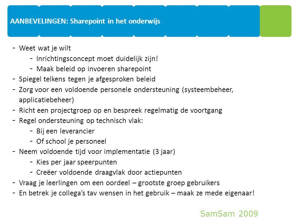 SamSam 2009 10 - Weet wat je wilt - Inrichtingsconcept moet duidelijk zijn! - Maak beleid op invoeren sharepoint - Spiegel telkens tegen je afgesproke