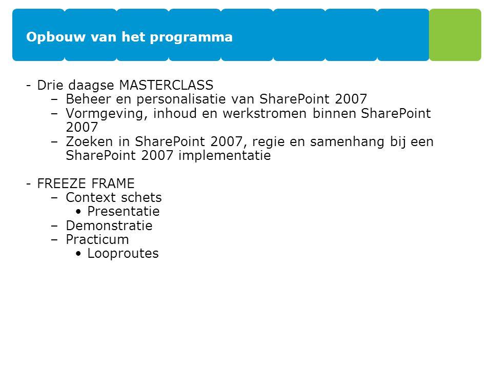 Opbouw van het programma -Drie daagse MASTERCLASS –Beheer en personalisatie van SharePoint 2007 –Vormgeving, inhoud en werkstromen binnen SharePoint 2007 –Zoeken in SharePoint 2007, regie en samenhang bij een SharePoint 2007 implementatie -FREEZE FRAME –Context schets Presentatie –Demonstratie –Practicum Looproutes