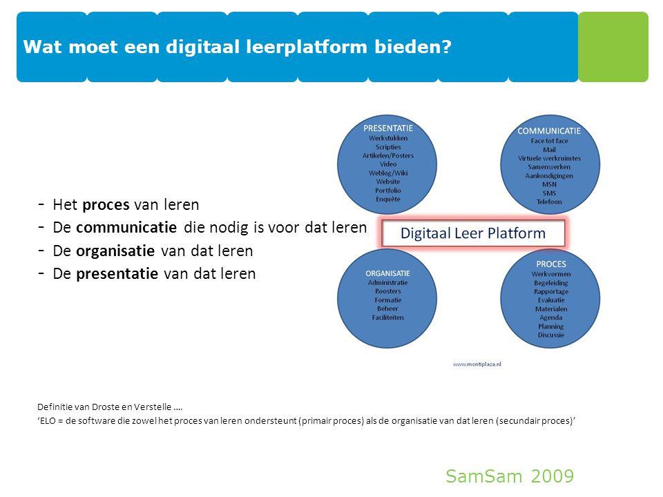 SamSam 2009 Wat moet een digitaal leerplatform bieden? 5 proces - Het proces van leren - De communicatie die nodig is voor dat leren - De organisatie