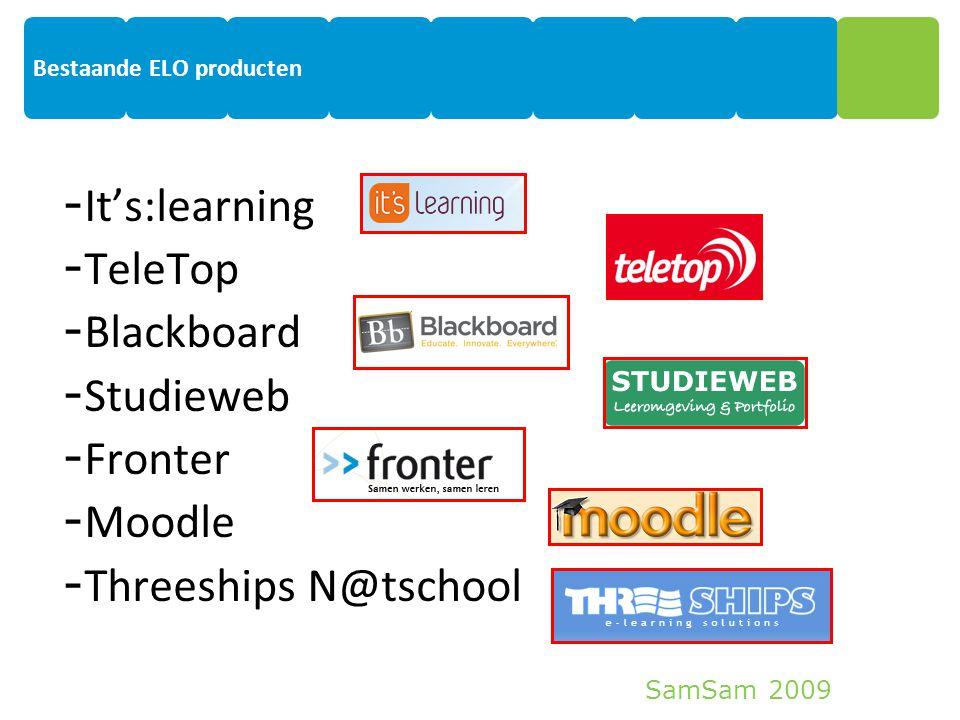 SamSam 2009 6 Bestaande ELO producten - It's:learning - TeleTop - Blackboard - Studieweb - Fronter - Moodle - Threeships N@tschool