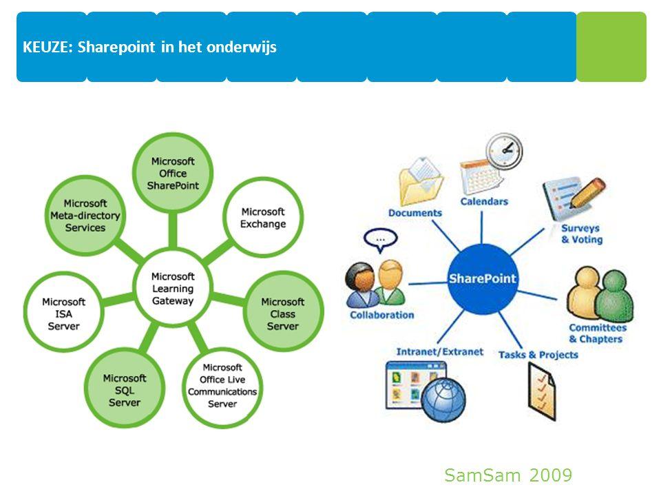 SamSam 2009 7 KEUZE: Sharepoint in het onderwijs