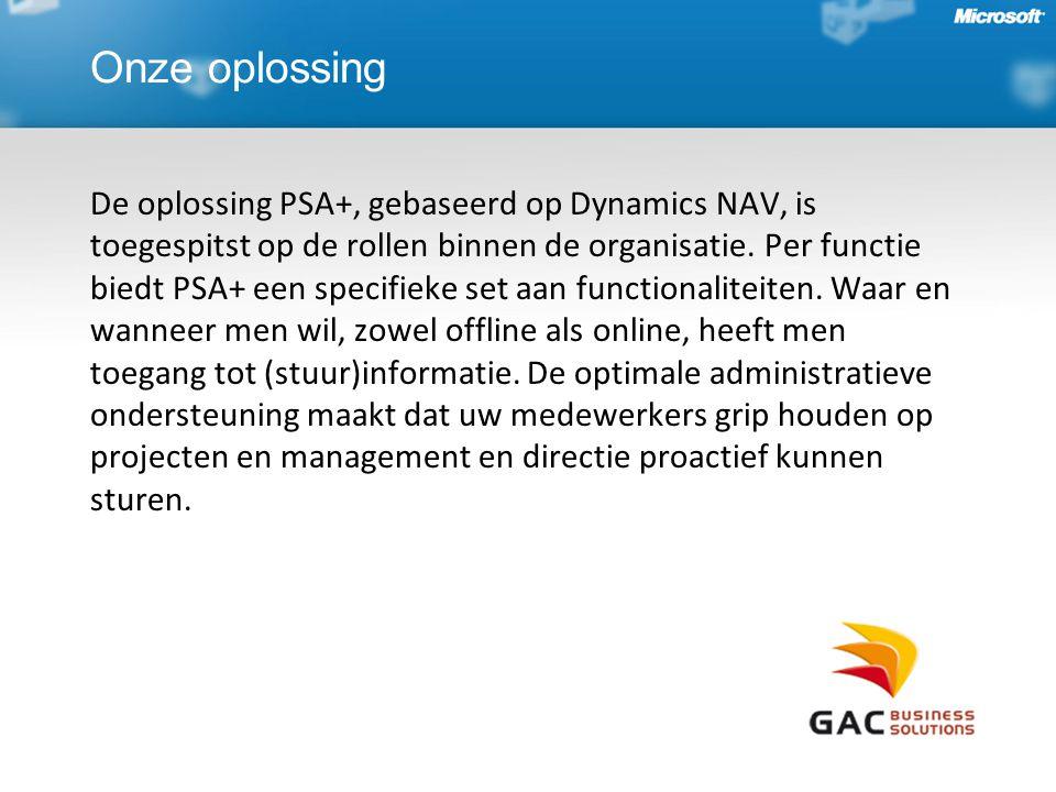 Onze oplossing De oplossing PSA+, gebaseerd op Dynamics NAV, is toegespitst op de rollen binnen de organisatie. Per functie biedt PSA+ een specifieke