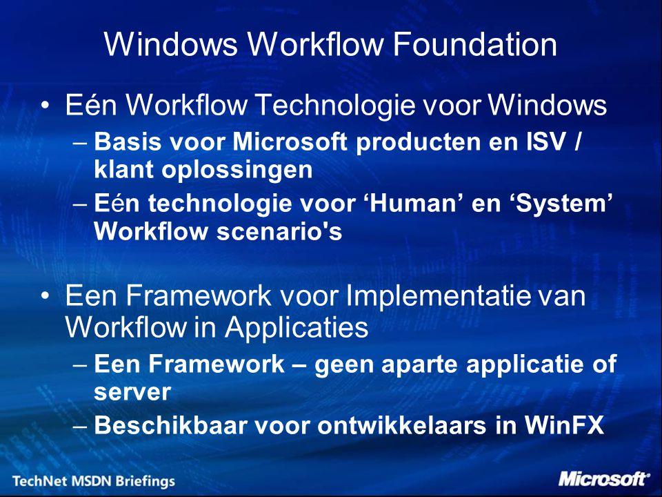 Eén Workflow Technologie voor Windows –Basis voor Microsoft producten en ISV / klant oplossingen –Eén technologie voor 'Human' en 'System' Workflow sc