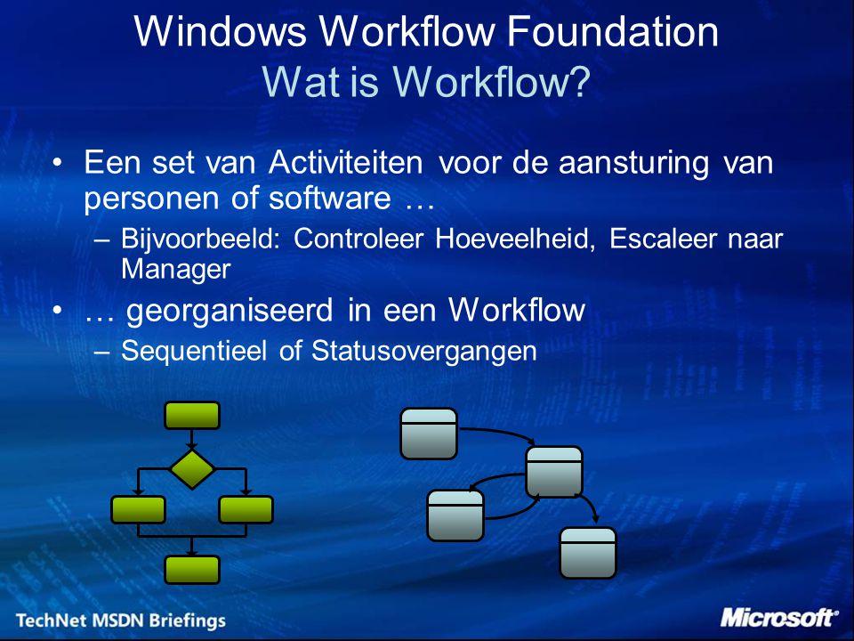 Windows Workflow Foundation Wat is Workflow? Een set van Activiteiten voor de aansturing van personen of software … –Bijvoorbeeld: Controleer Hoeveelh