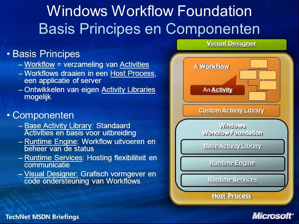 Windows Workflow Foundation Basis Principes en Componenten Basis Principes –Workflow = verzameling van Activities –Workflows draaien in een Host Proce