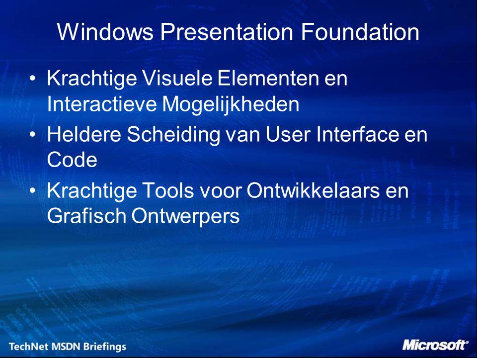 Windows Presentation Foundation Krachtige Visuele Elementen en Interactieve Mogelijkheden Heldere Scheiding van User Interface en Code Krachtige Tools