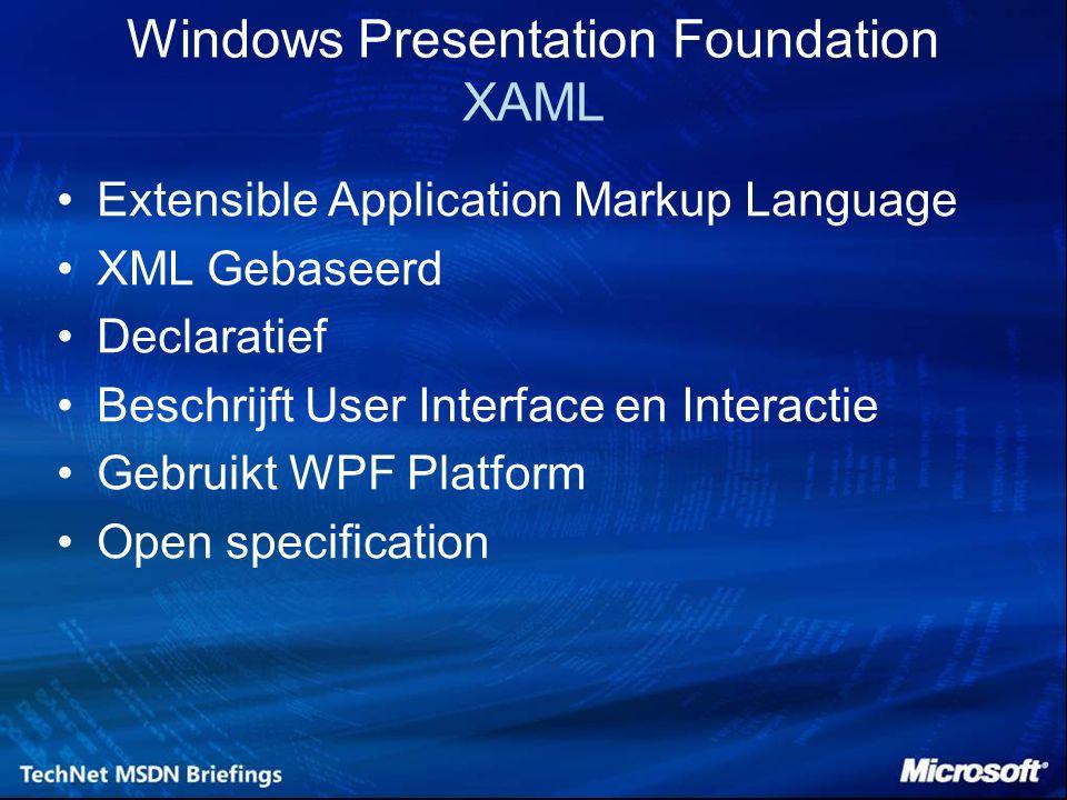 Windows Presentation Foundation XAML Extensible Application Markup Language XML Gebaseerd Declaratief Beschrijft User Interface en Interactie Gebruikt WPF Platform Open specification
