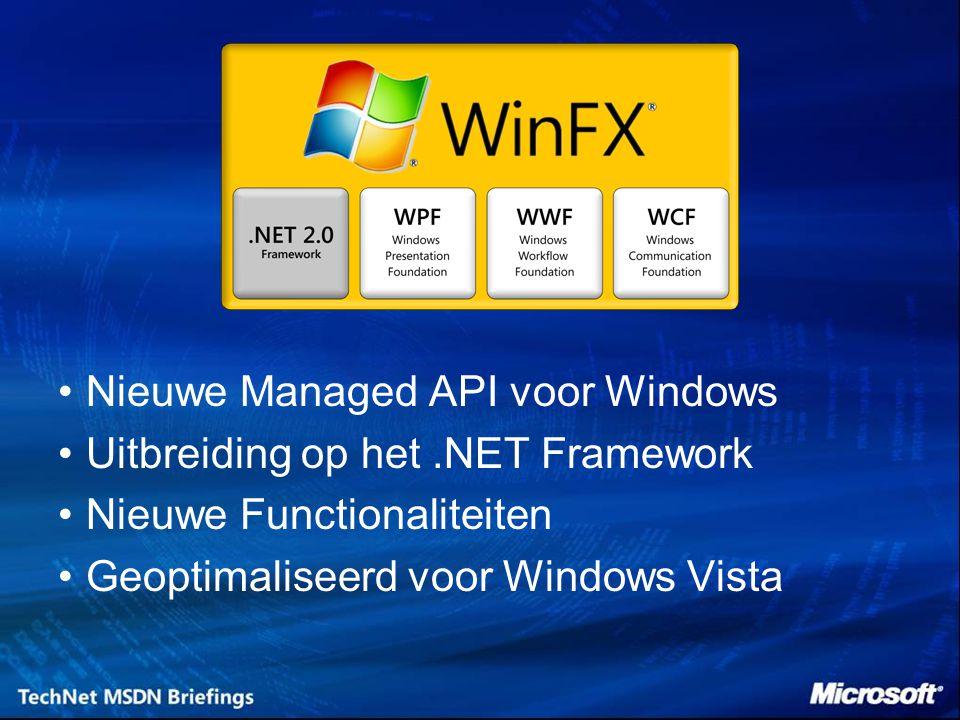Eén Workflow Technologie voor Windows –Basis voor Microsoft producten en ISV / klant oplossingen –Eén technologie voor 'Human' en 'System' Workflow scenario s Een Framework voor Implementatie van Workflow in Applicaties –Een Framework – geen aparte applicatie of server –Beschikbaar voor ontwikkelaars in WinFX