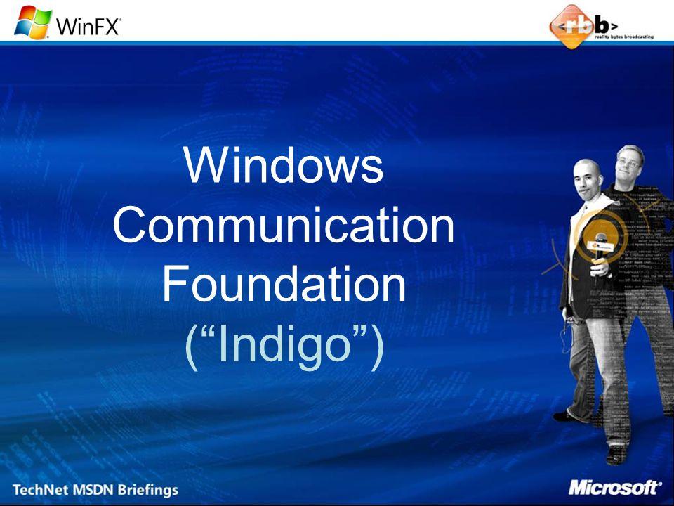 Windows Communication Foundation De Achtergrond Windows Communication Foundation ASMX [ with WSE ].NET Remoting COM+ Enterprise Services Simpele Configuratie Open Standaard Service-Oriented Attributen Transacties Componenten Uitbreidbaar Object-Oriented MSMQSystem.Messaging Messages Betrouwbaar