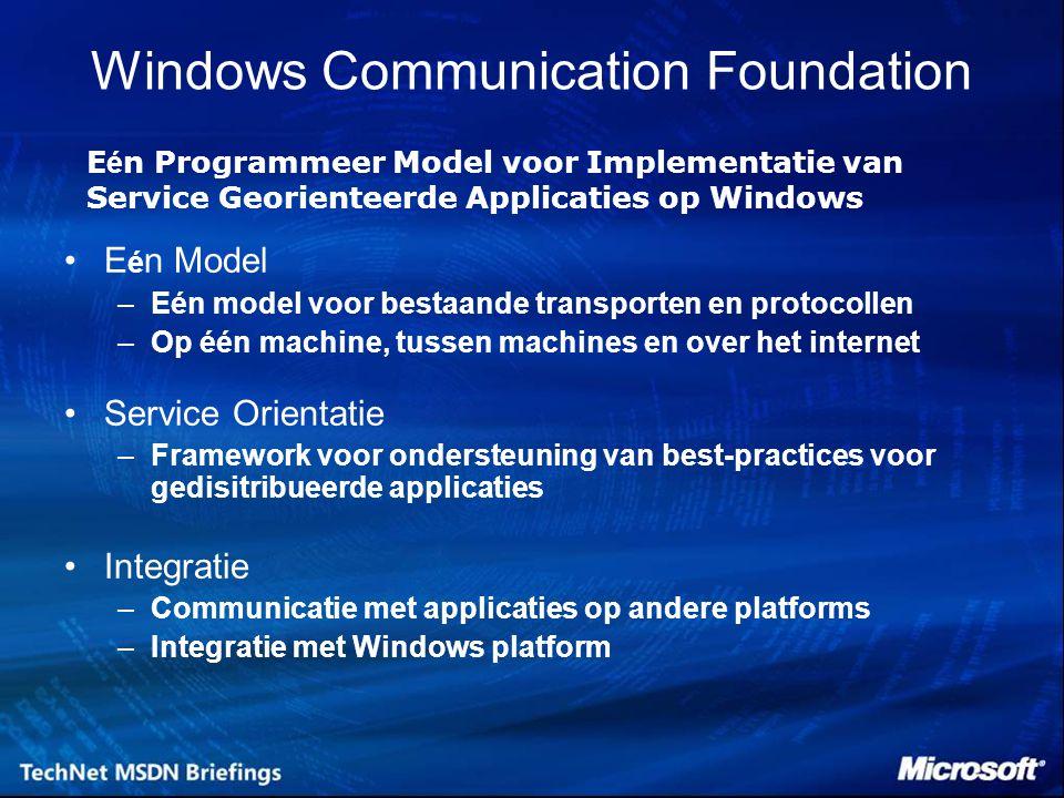 Windows Communication Foundation E é n Model –Eén model voor bestaande transporten en protocollen –Op één machine, tussen machines en over het interne