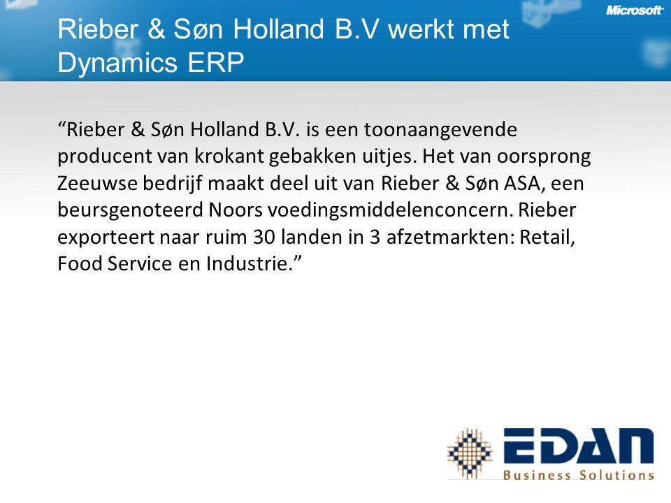 Rieber & Søn Holland B.V werkt met Dynamics ERP Rieber & Søn Holland B.V.