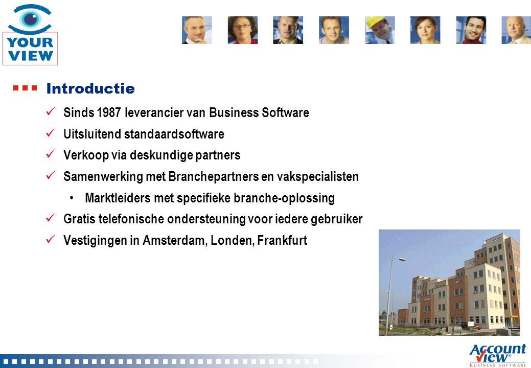 Introductie Sinds 1987 leverancier van Business Software Uitsluitend standaardsoftware Verkoop via deskundige partners Samenwerking met Branchepartner