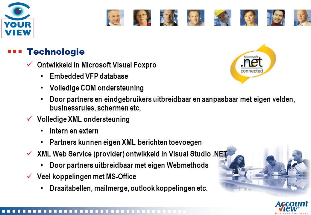 Technologie Ontwikkeld in Microsoft Visual Foxpro Embedded VFP database Volledige COM ondersteuning Door partners en eindgebruikers uitbreidbaar en aa