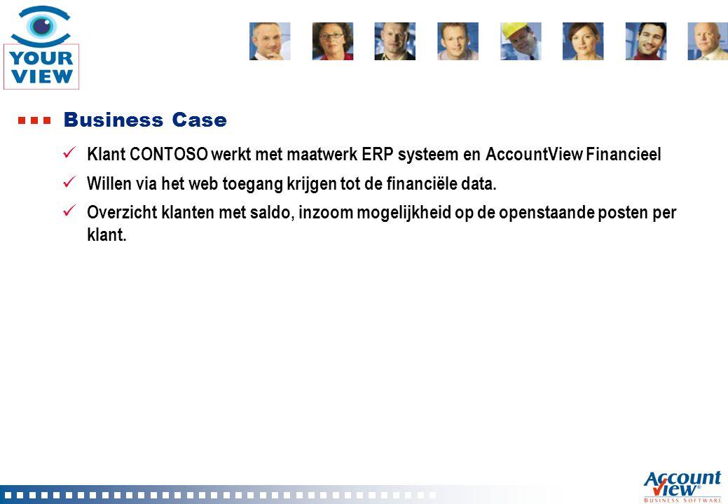 Business Case Klant CONTOSO werkt met maatwerk ERP systeem en AccountView Financieel Willen via het web toegang krijgen tot de financiële data. Overzi