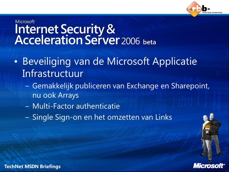 Beveiliging van de Microsoft Applicatie Infrastructuur –Gemakkelijk publiceren van Exchange en Sharepoint, nu ook Arrays –Multi-Factor authenticatie –Single Sign-on en het omzetten van Links