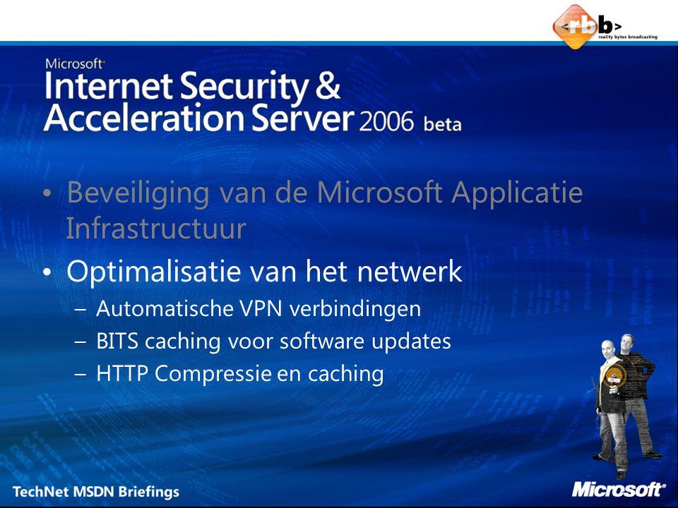 Beveiliging van de Microsoft Applicatie Infrastructuur Optimalisatie van het netwerk –Automatische VPN verbindingen –BITS caching voor software updates –HTTP Compressie en caching