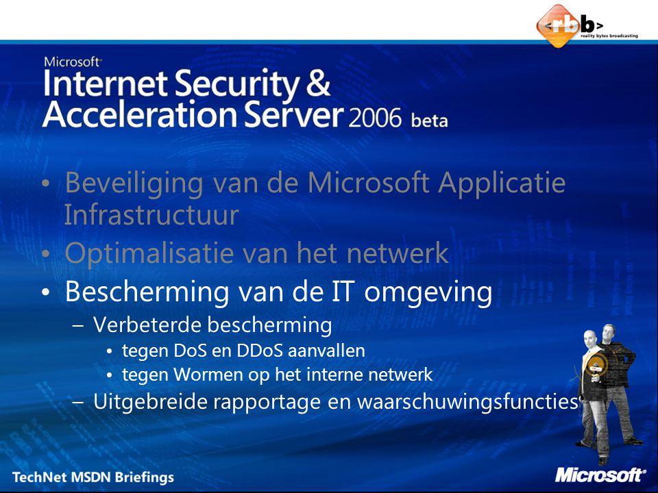 Beveiliging van de Microsoft Applicatie Infrastructuur Optimalisatie van het netwerk Bescherming van de IT omgeving –Verbeterde bescherming tegen DoS en DDoS aanvallen tegen Wormen op het interne netwerk –Uitgebreide rapportage en waarschuwingsfuncties