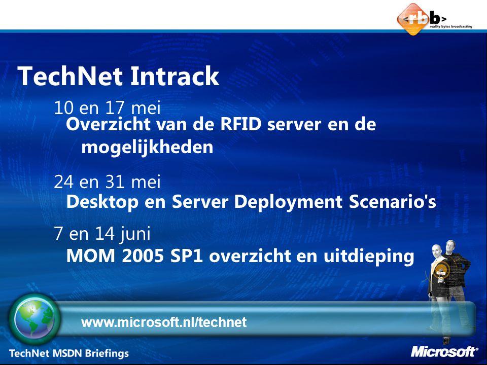 TechNet Intrack Overzicht van de RFID server en de mogelijkheden Desktop en Server Deployment Scenario s MOM 2005 SP1 overzicht en uitdieping 10 en 17 mei 24 en 31 mei 7 en 14 juni www.microsoft.nl/technet