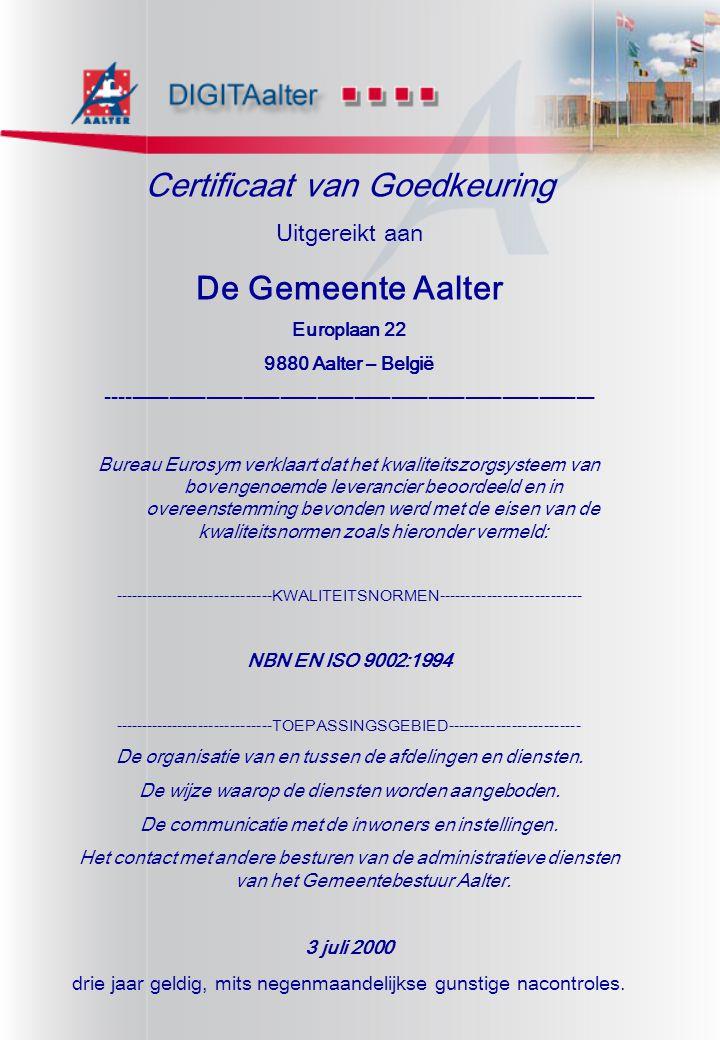 Certificaat van Goedkeuring Uitgereikt aan De Gemeente Aalter Europlaan 22 9880 Aalter – België ------------------------------------------------------