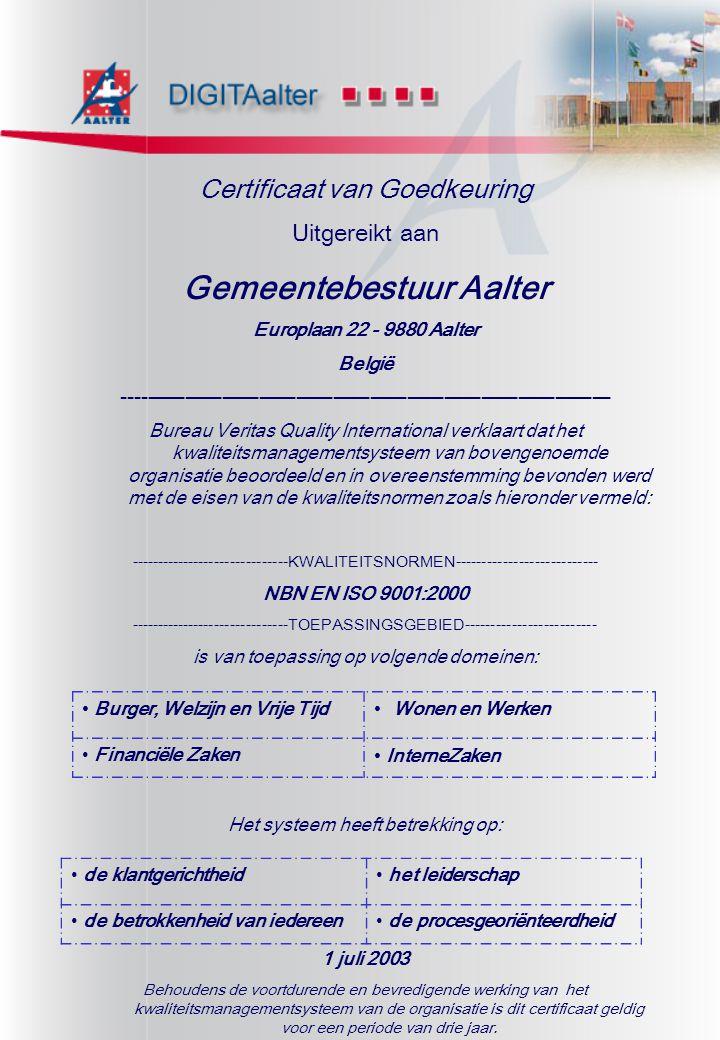 Certificaat van Goedkeuring Uitgereikt aan Gemeentebestuur Aalter Europlaan 22 - 9880 Aalter België --------------------------------------------------