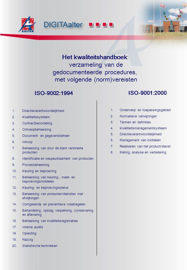 ISO-9002:1994 1.Directieverantwoordelijkheid 2.Kwaliteitssysteem 3.Contractbeoordeling 4.Ontwerpbeheersing 5.Document- en gegevensbeheer 6.Inkoop 7.Be
