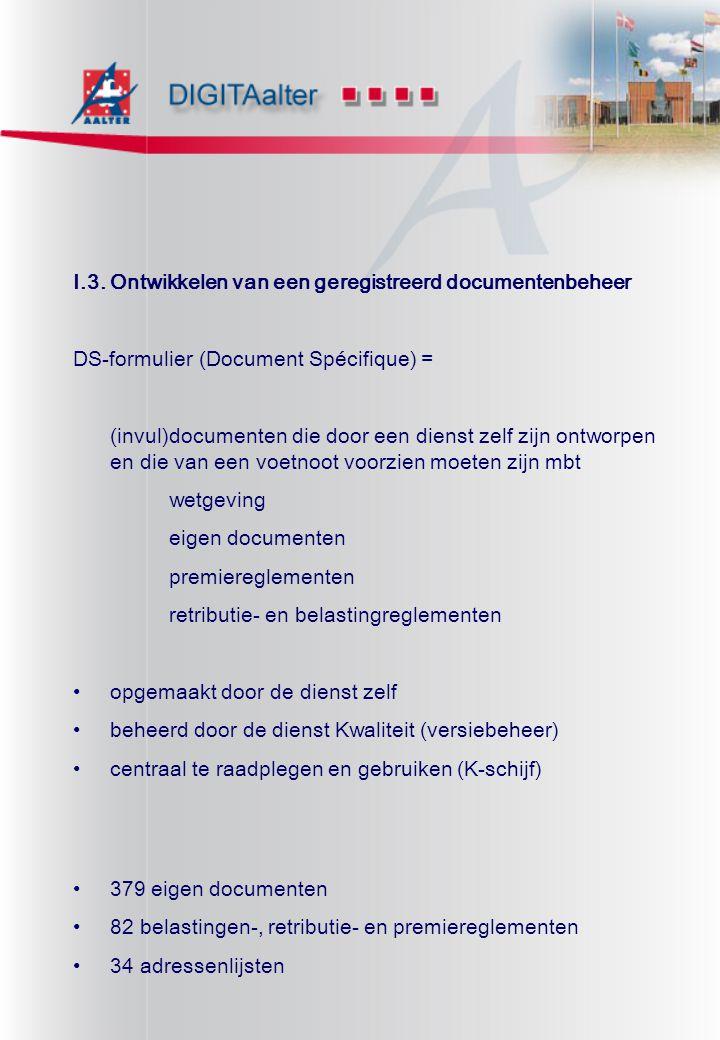 I.3. Ontwikkelen van een geregistreerd documentenbeheer DS-formulier (Document Spécifique) = (invul)documenten die door een dienst zelf zijn ontworpen