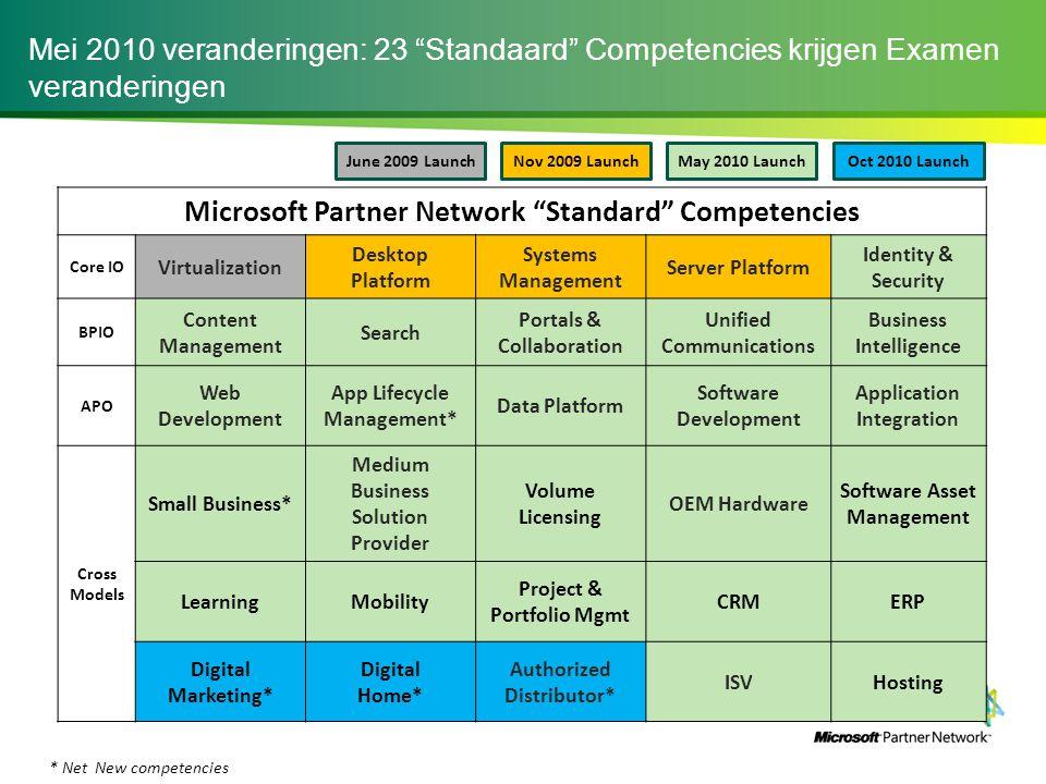 """Mei 2010 veranderingen: 23 """"Standaard"""" Competencies krijgen Examen veranderingen Microsoft Partner Network """"Standard"""" Competencies Core IO Virtualizat"""