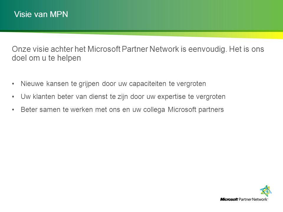 Visie van MPN Onze visie achter het Microsoft Partner Network is eenvoudig. Het is ons doel om u te helpen Nieuwe kansen te grijpen door uw capaciteit