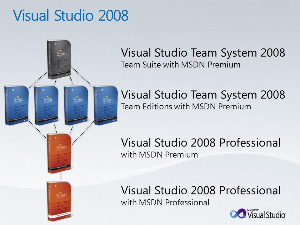 Visual Studio 2008 Professional with MSDN Professional Visual Studio 2008 Professional with MSDN Premium Visual Studio Team System 2008 Team Editions