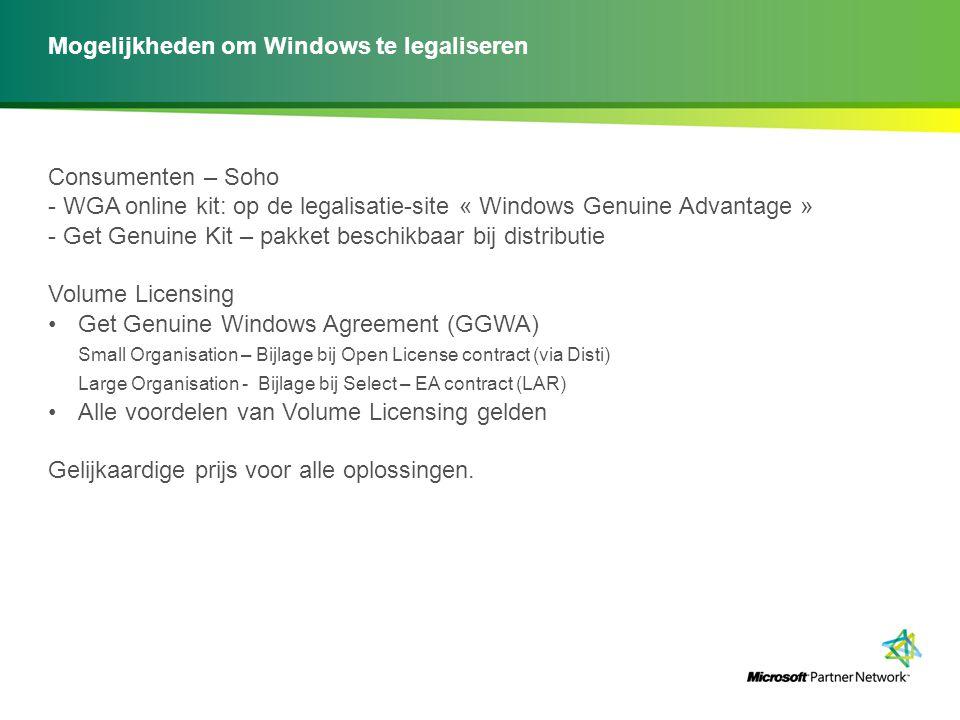 Mogelijkheden om Windows te legaliseren Consumenten – Soho - WGA online kit: op de legalisatie-site « Windows Genuine Advantage » - Get Genuine Kit –